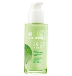 Косметика Yves Rocher - матирование кожи Sebo Vegetal, уход за жирной кожей лица, как избавиться от прыщей, как убрать жирный блеск кожи