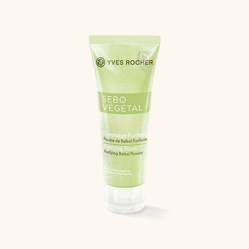 Косметика Yves Rocher гоммаж Sebo Vegetal, скраб для жирной кожи, очищение жирной кожи, как избавиться от черных точек